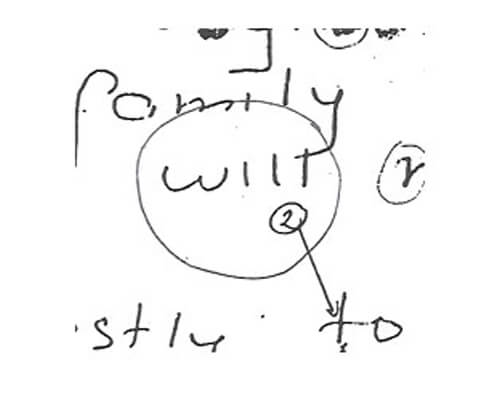 Forensic handwriting analysis example with will